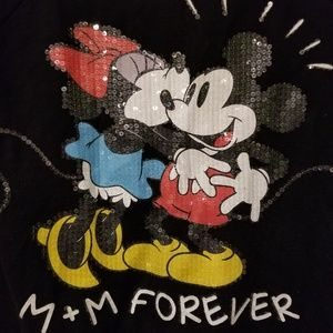 Mickey and Minnie Clear Sequin Long Tee Shirt SML